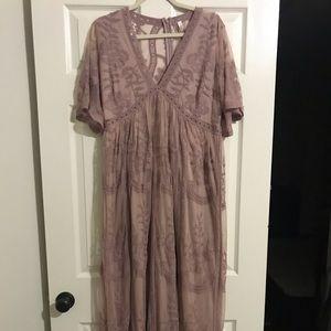 Mauve maternity maxi dress